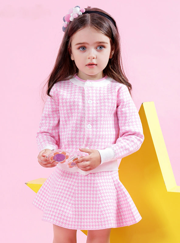 Winter Geometric Pattern Dress Long Sleeve Girls