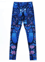 Blue Midnight Owl Digital Printed Milk Fitness Pants