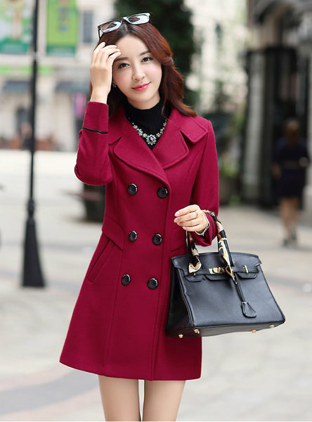 Long Coat Slim Fit Lapel Woolen Overcoat