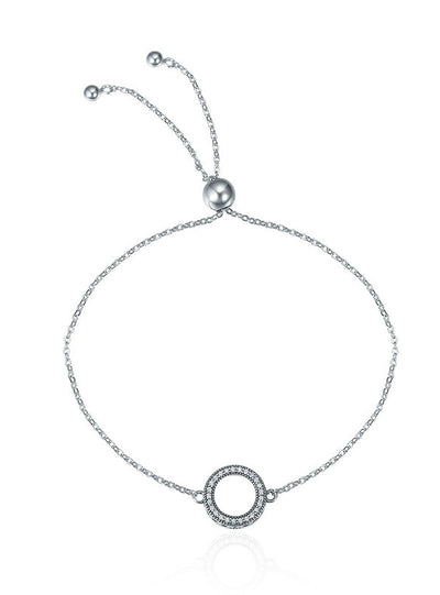 925 Sterling Silver Glittering Round Circle Chain