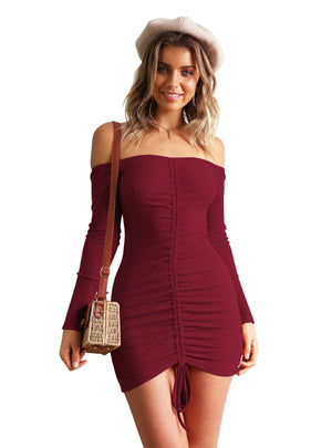 Long Sleeve Drawstring Strap Sexy Dress