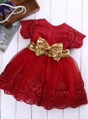 Princess Dress Short Sleeve Lace Bow Ball Gown