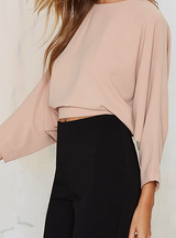 Three Quarter Sleeve Crop Tops Drawstring Buttons