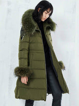 Long Green Jacket Women Warm Outwear Real Fur