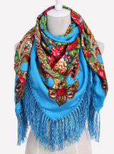 Square Scarf Cotton Long Tassel Print Scarf