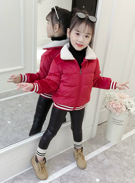 Girl's Cotton Clothes Short Cotton-Padded Jacket