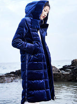 Down Coats Velour Winter Long Parkas Blue