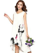 Chinese Linen Vintage Dress Ladies Sundress