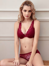 Push Up Bra Set Sexy V -Neck Plunge Lace