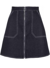 A-line S Street Style Solid Zippers Ladies Denim Skirts