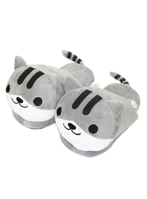 Cat Animal Indoor Slippers Furry Adult Cartoon House
