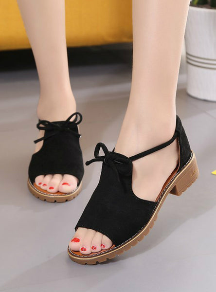Buckle Roman Shoes Solid Color Low-heeled Sandals