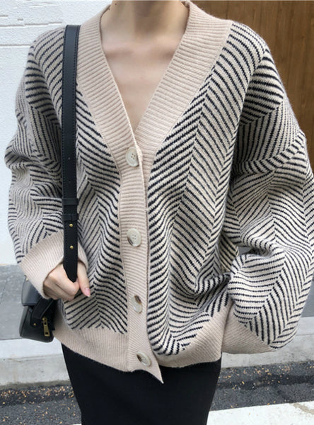 Winter Striped V-Neck Cardigans Buttons Oversize