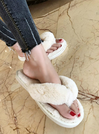 Women Home Slippers Faux Fur Warm Shoes