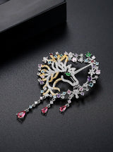 Multi Shining Crystal Horse Shape Brooches