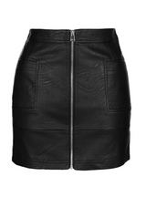 Black Faux Leather Punk Mini Skirt Sexy