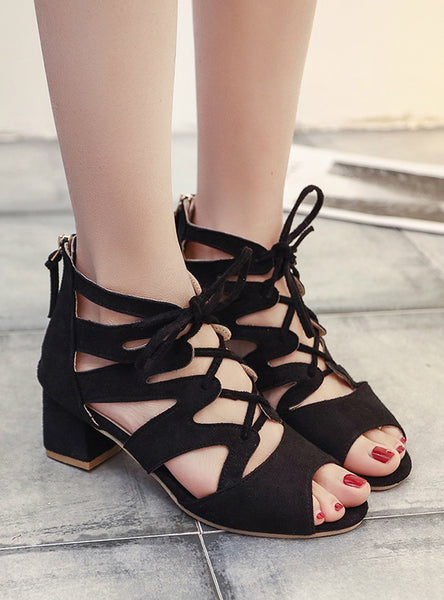Women Pumps Open Toe Lace Up Heels Sandals
