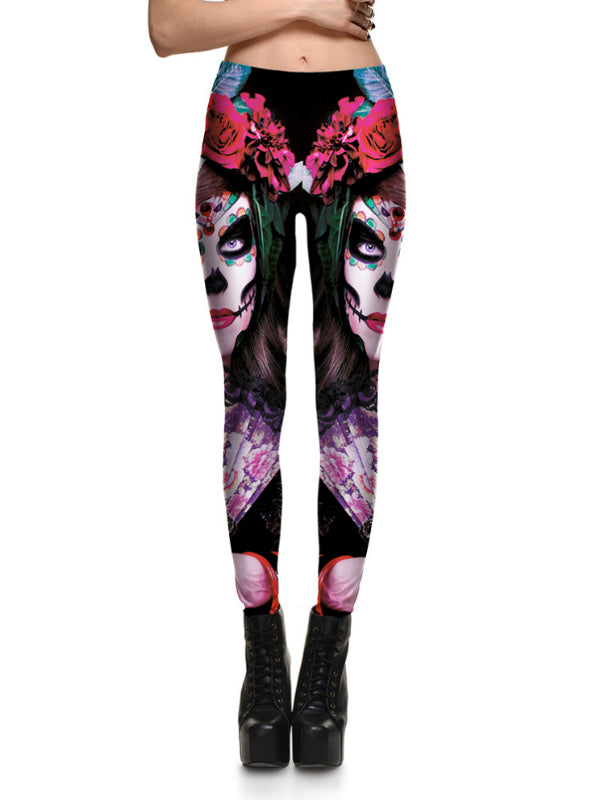 Beauty Roses Monster Stretch Digital Print Pants