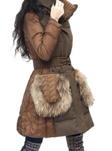 Women Down Jacket With Adjusted Belt Patchwork