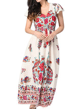 Print Bohemian Women Dress Deep V-neck