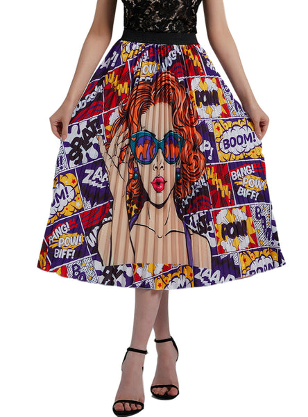 Women Curly Girl Print Pleats Skirts