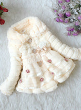 Baby Faux Fox Fur Collar Winter Flower Lace Outerwear