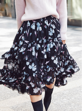 Vintage Black Print Pattern Wide Hem Long Skirt