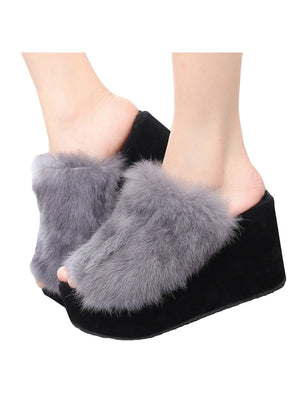 Fur Slippers Wedges Women Slippers Platform