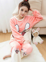 Rabbit Pyjamas Sets Thick Warm Coral Velvet Suit