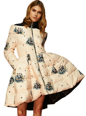 Floral Print Women's Down Jacket Parka Princess Skirt
