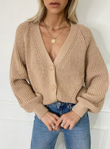 Loose Casual Solid Color V-neck Lantern Sleeves Sweaters