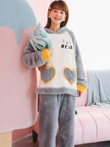 Women Gray Heart Bear Cute Cartoon Flannel