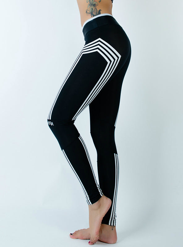 Work Out Leggings Striped Silm Black Sporter