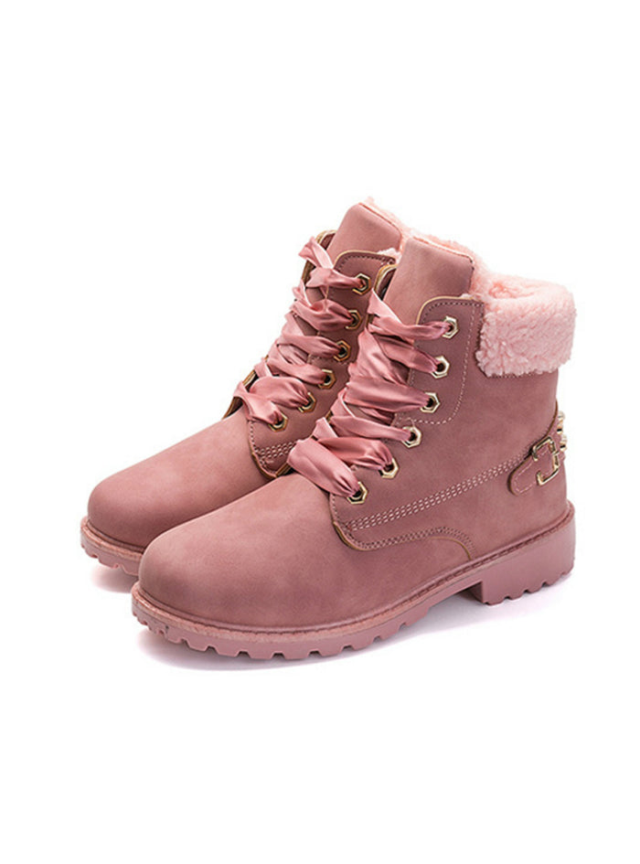 Women Boots Lace up Solid Casual Ankle Boots
