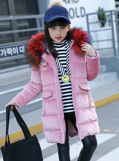 Winter Jacket Girl Coat Purple Cute Hooded Colored Fur