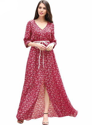 Boho Dress Female Vintage Floral Print Long Maxi Dress