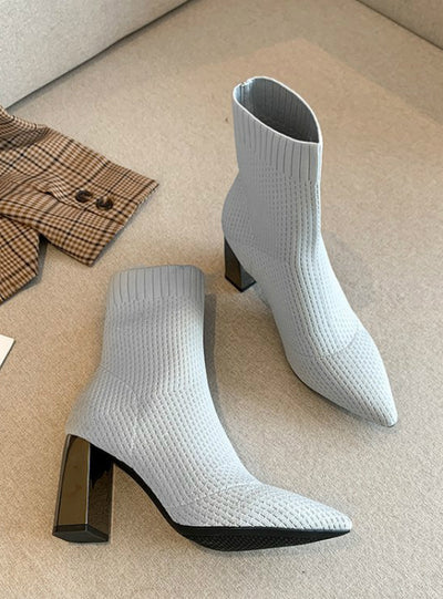 Women Stretch Fabric Elastic Stilettos Heel Pointed Toe