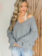 Off The Shoulder Sweater For Women Fringe Distressed Knitted