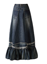 Long Skirt Women Patchwork Vintage Skirt For Girls