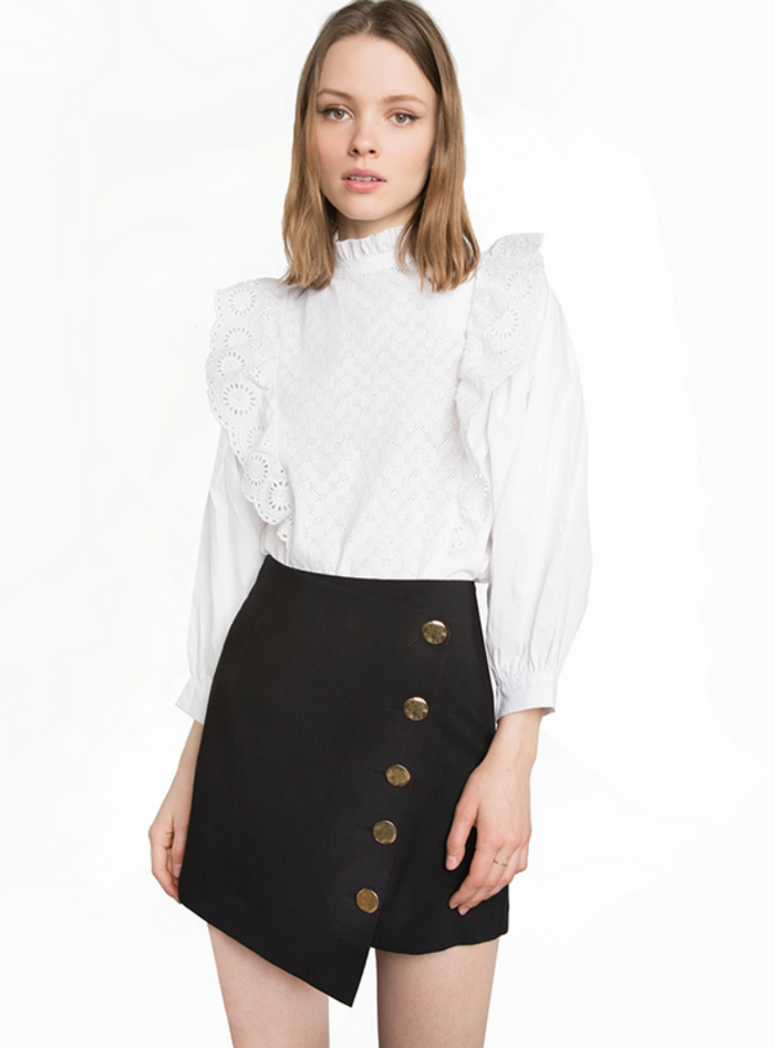 decorative skirt buttons wind asymmetry
