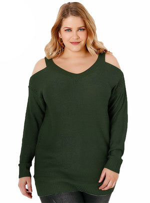 Side Hollow Out Sweater Solid Long Sleeve