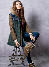 Down Jacket Autumn Women's Outwear Patchwork