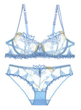 Flowers Embroidery Lingerie Set Lace Blue Transparent