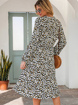 Women High Waist Long Sleeve Leopard Midi Dress