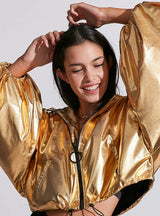 Loose Solid Gold Pockets Lantern Sleeve Jackets