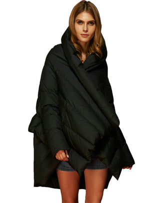 Women's Down Jacket Parka Cloaks Asymmetric Length