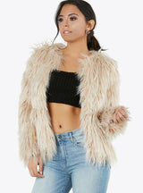 Faux Fur Coats O-neck Long Sleeve Thick Warm
