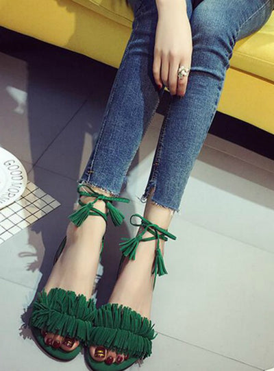 Fur Ankle Strap Gladiator Sandals Women Flats