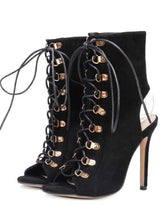 Lace Up sandals Stiletto Gladiator Shoes Short Bootie