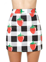 Black White Plaid Strawberry Print Preppy Style